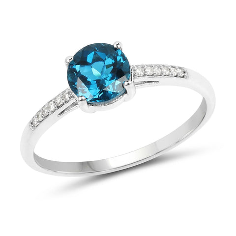 Round London Blue Topaz and Diamond Ring in 14K White Gold