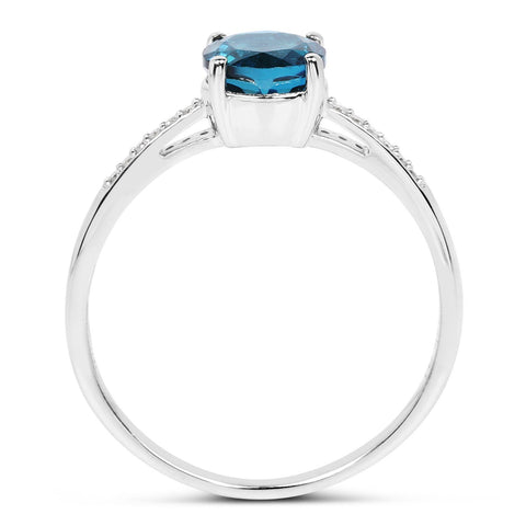 Image of Round London Blue Topaz and Diamond Ring in 14K White Gold
