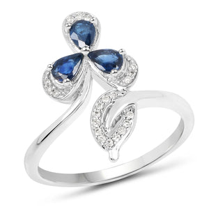 Blue Sapphire Pears and Diamond Micropavé Ring in 14K White Gold
