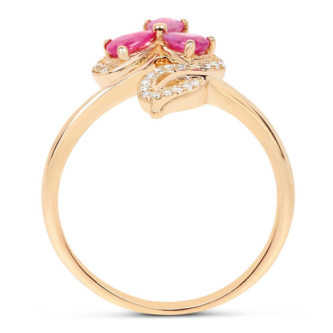 Image of Ruby Pears and Diamond Micropavé Ring in 14K Yellow Gold