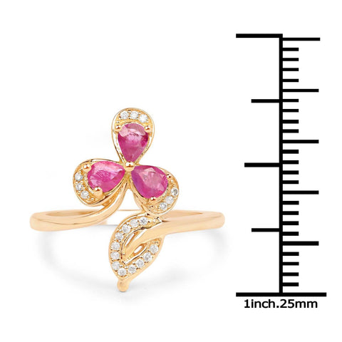 Ruby Pears and Diamond Micropavé Ring in 14K Yellow Gold