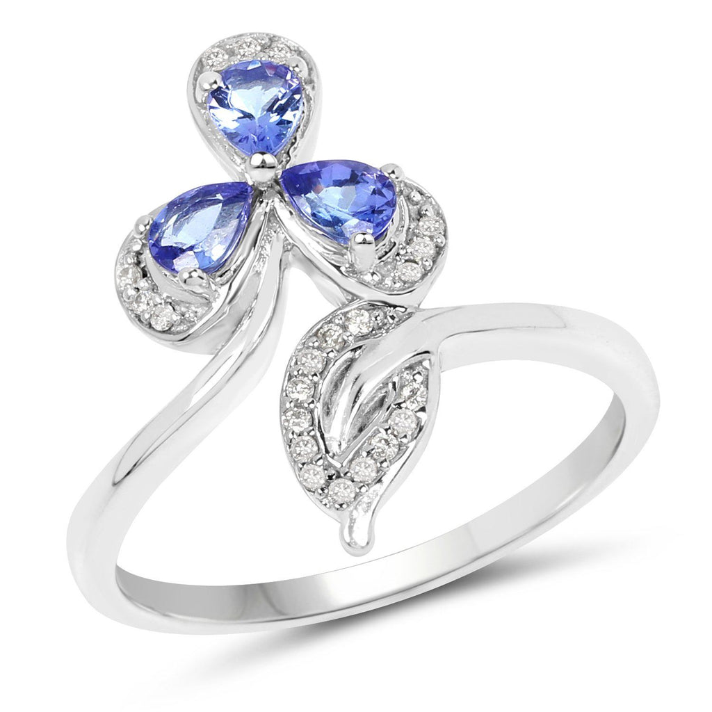 Three-Stone Tanzanite and Diamond Micropavé Ring in 14K White Gold