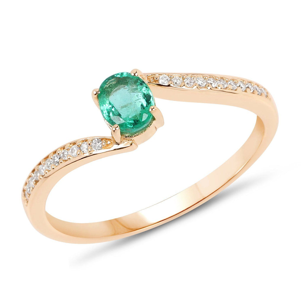 Petite Zambian Emerald and Diamond Micropavé Ring in 14K Yellow Gold