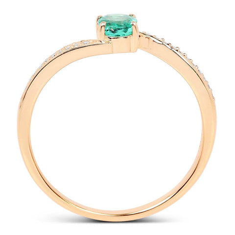Image of Petite Zambian Emerald and Diamond Micropavé Ring in 14K Yellow Gold