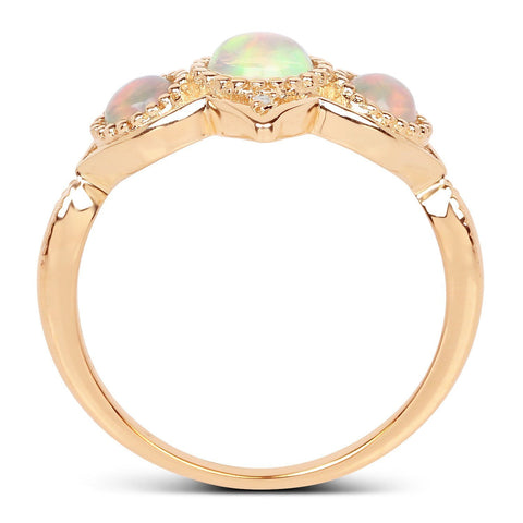Three-Stone Ethiopian Opal and Diamond Halo Ring in 14K Yellow Gold