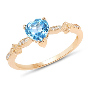 Heart Swiss Blue Topaz and Diamond Ring in 14K Yellow Gold