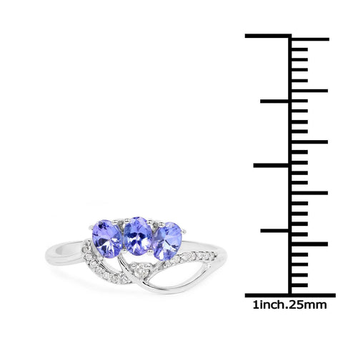 Image of Three-Stone Tanzanite and Diamond Micropavé Ring in 14K White Gold