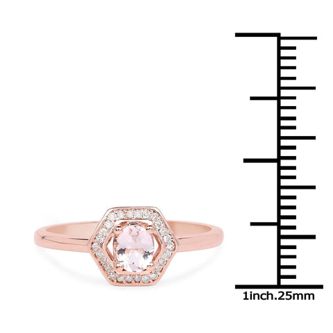 Image of Morganite and Diamond Halo Ring in 14K Rose Gold