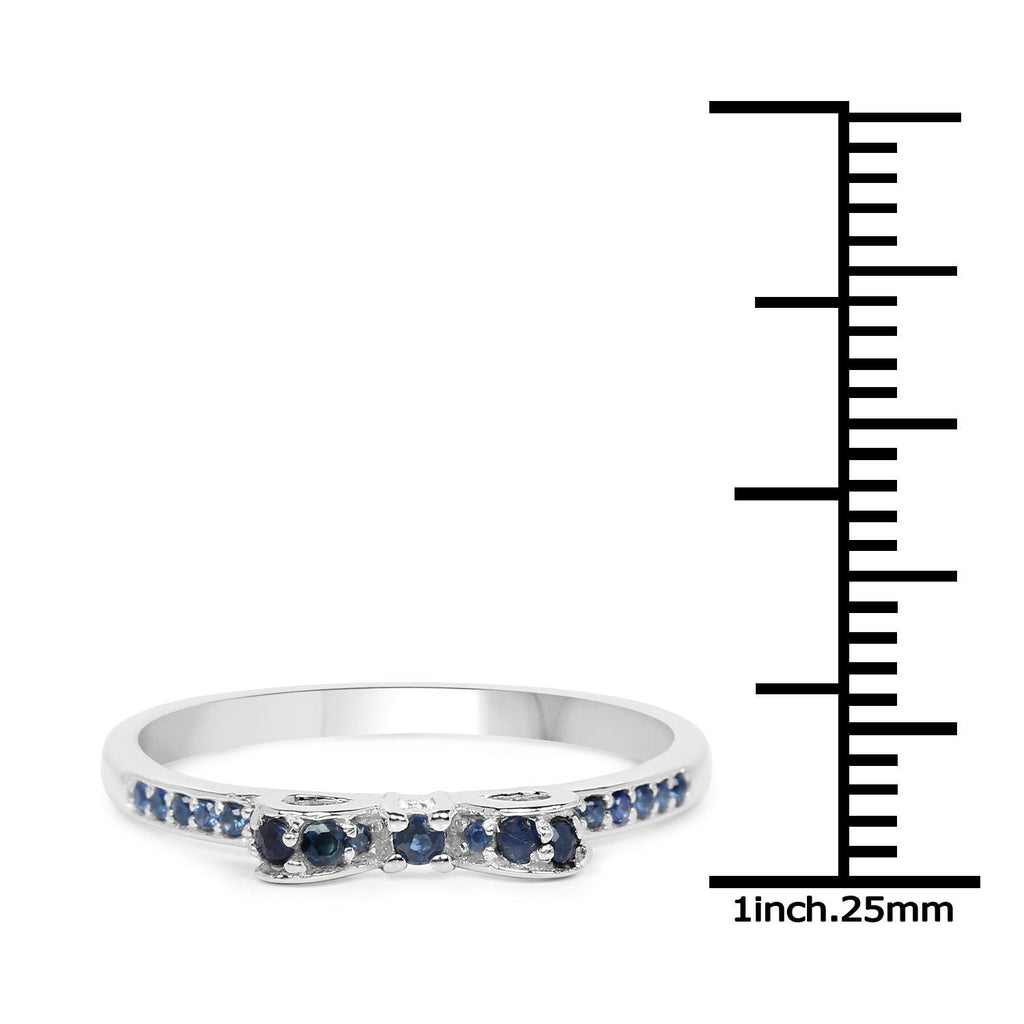 Blue Sapphire Micropavé Ribbon Ring in 14K White Gold