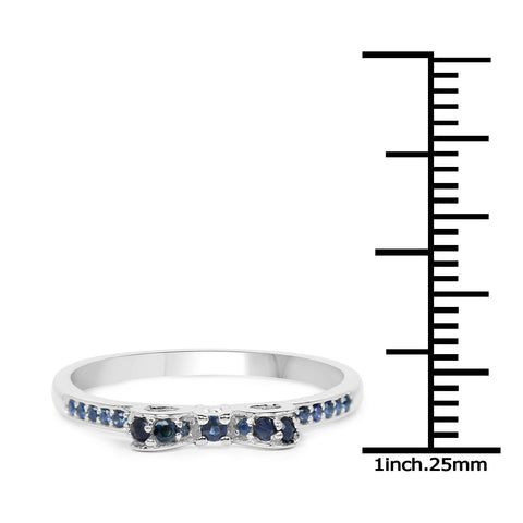 Image of Blue Sapphire Micropavé Ribbon Ring in 14K White Gold