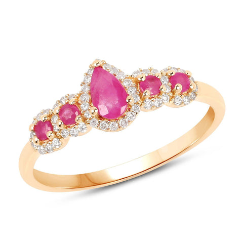 Image of Marquise Ruby and Diamond Halo Ring in 14K Yellow Gold