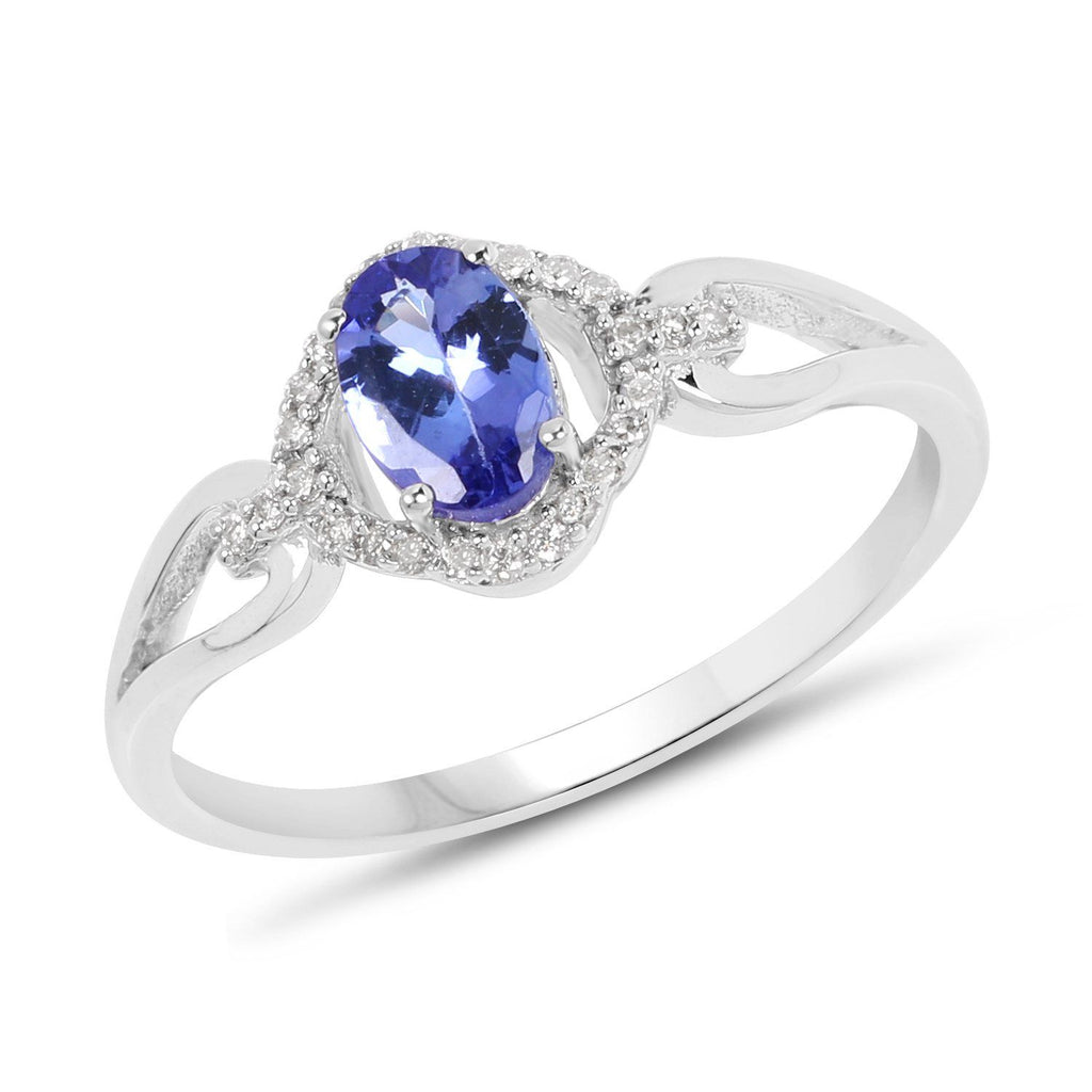 Oval Tanzanite and Diamond Micropavé Halo Ring in 14K White Gold