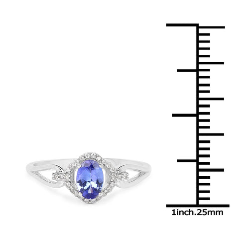 Image of Oval Tanzanite and Diamond Micropavé Halo Ring in 14K White Gold