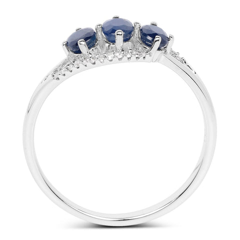 Three-Stone Blue Sapphire and Diamond Micropavé Ring in 14K White Gold
