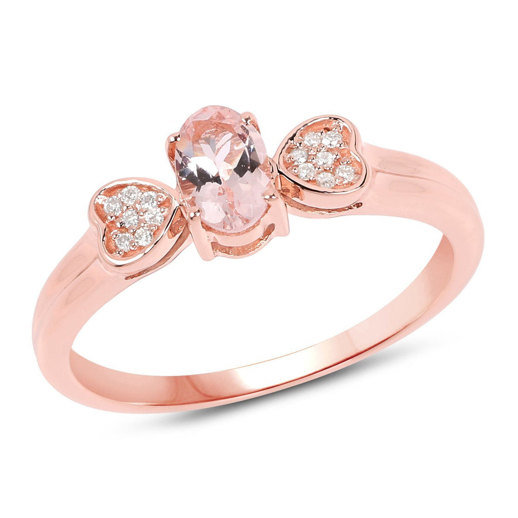 Marquise Morganite and Diamond Hearts Ring in 14K Rose Gold