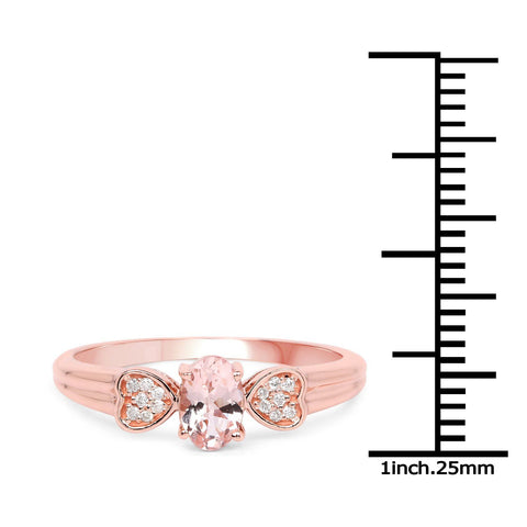 Image of Marquise Morganite and Diamond Hearts Ring in 14K Rose Gold