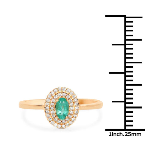 Marquise Zambian Emerald and Diamond Double Halo Ring in 14K Yellow Gold
