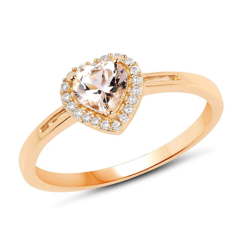 Image of Morganite Heart and Diamond Halo Ring in 14K Yellow Gold
