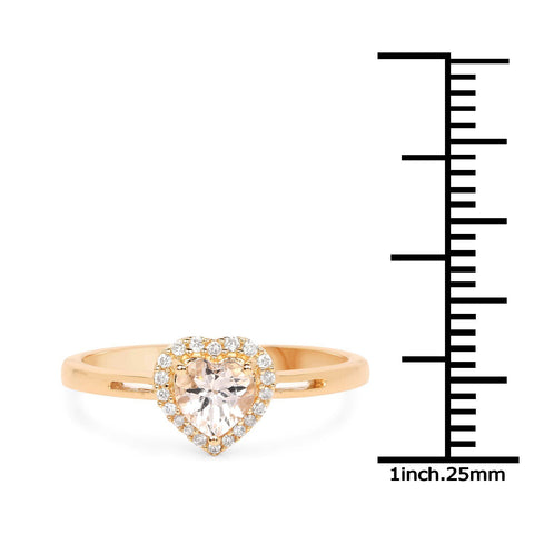 Morganite Heart and Diamond Halo Ring in 14K Yellow Gold