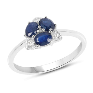 Three-Stone Blue Sapphire and Diamond Ring in 14K White Gold