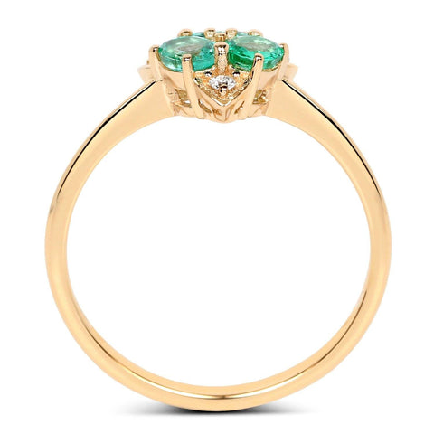 Three-Stone Zambian Emerald and Diamond Ring in 14K Yellow Gold