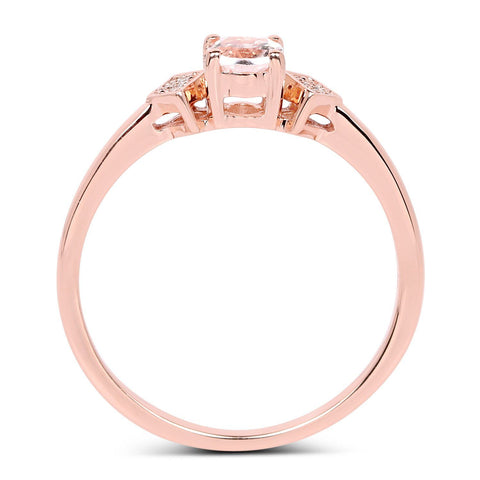 Image of Morganite and Diamond Ring in 14K Rose Gold