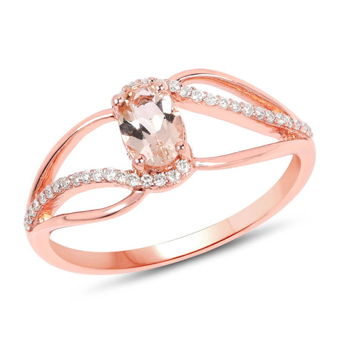 Image of Morganite and Diamond Micropavé Infinity Ring in 14K Rose Gold