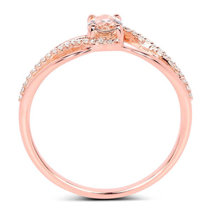 Morganite and Diamond Micropavé Infinity Ring in 14K Rose Gold
