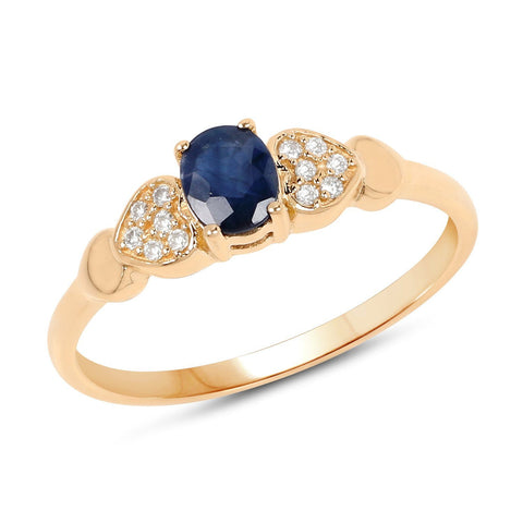 Blue Sapphire and Diamond Micropavé Ring in 14K Yellow Gold