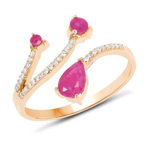 Ruby Petite, Pear and Diamond Micropavé Ring in 14K Yellow Gold
