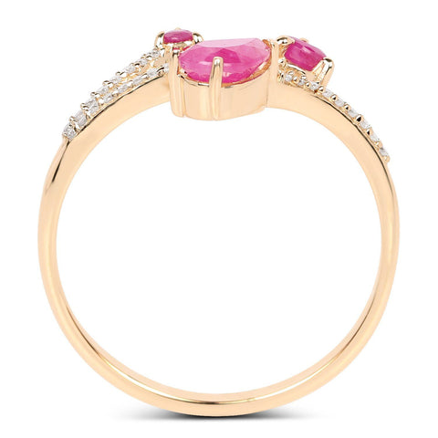 Image of Ruby Petite, Pear and Diamond Micropavé Ring in 14K Yellow Gold