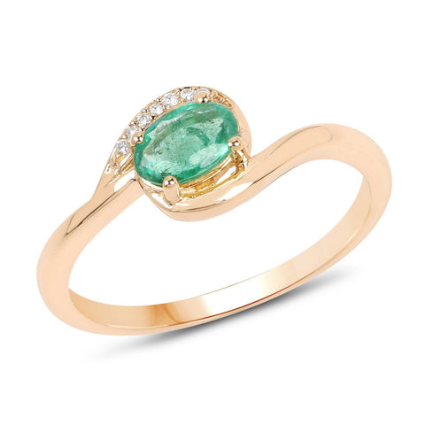 Oval Zambian Emerald and Diamond Micropavé Ring in 14K Yellow Gold