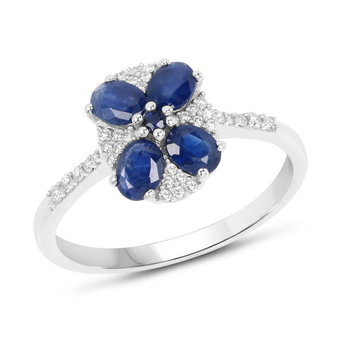 Four-Stone Blue Sapphire and Diamond Micropavé Ring in 14K White Gold