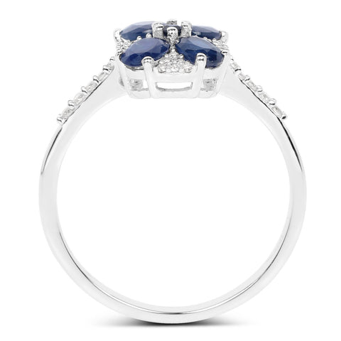 Image of Four-Stone Blue Sapphire and Diamond Micropavé Ring in 14K White Gold