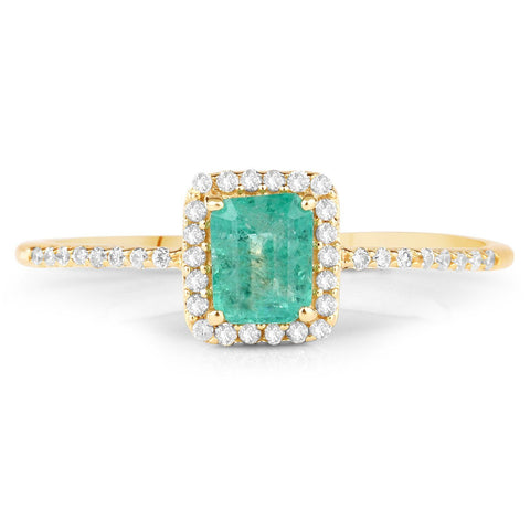 Cushion-Cut Zambian Emerald and Diamond Halo Ring in 14K Yellow Gold