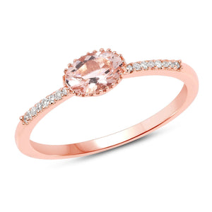 Marquise Morganite and Diamond Micropavé Ring in 14K Rose Gold