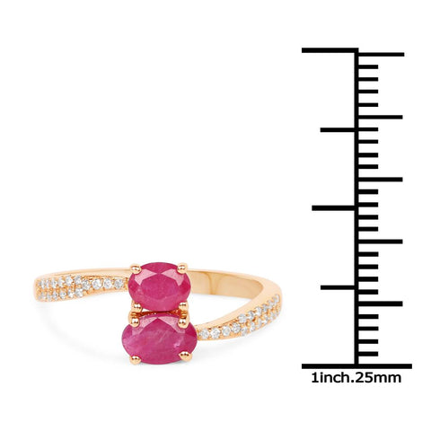 Image of Dual-Stone Marquise Ruby and Diamond Micropavé Ring in 14K Yellow Gold