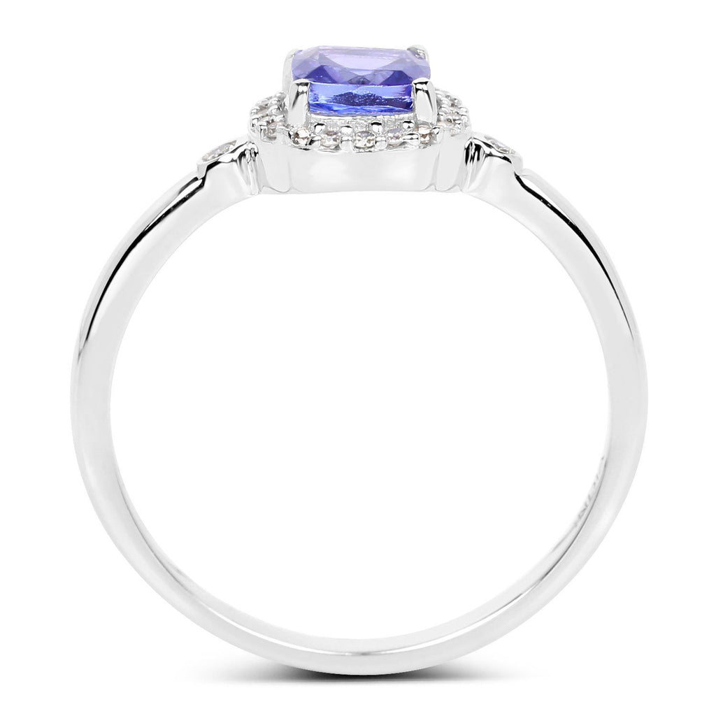 Cushion-Cut Tanzanite and Diamond Micropavé Halo Ring in 14K White Gold