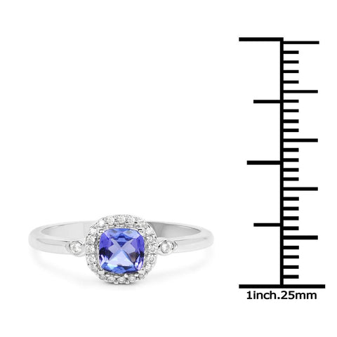 Image of Cushion-Cut Tanzanite and Diamond Micropavé Halo Ring in 14K White Gold