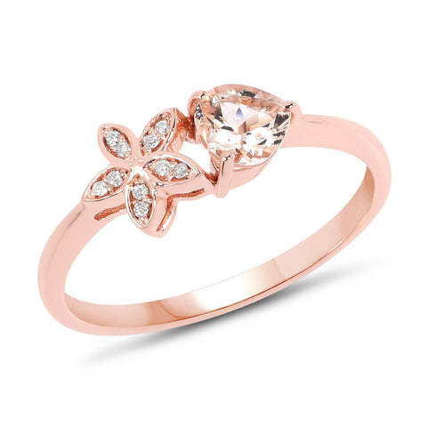 Diamond Micropavé Star and Morganite Ring in 14K Rose Gold