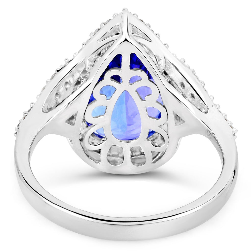 Pear Tanzanite and Diamond Micropavé Halo Ring in 14K White Gold