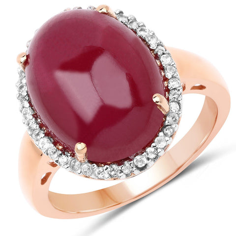 Image of Glass Filled Ruby and White Topaz Halo Ring in 14K Yellow Gold