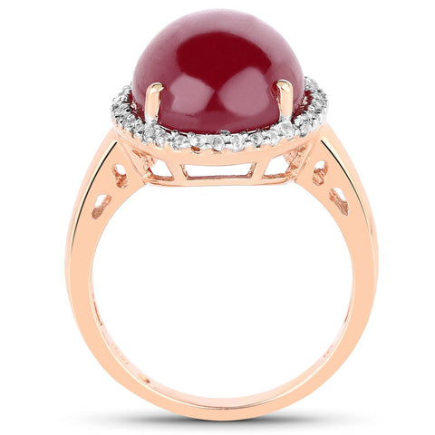 Glass Filled Ruby and White Topaz Halo Ring in 14K Yellow Gold