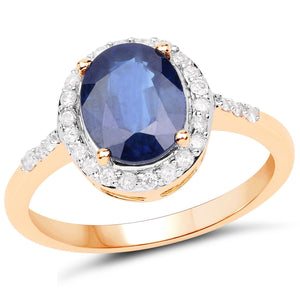 Blue Sapphire and Diamond Halo Cocktail Ring in 14K Yellow Gold