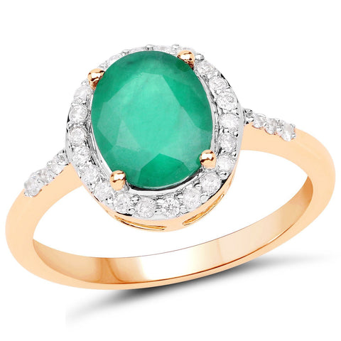 Zambian Emerald and Diamond Halo Cocktail Ring in 14K Yellow Gold
