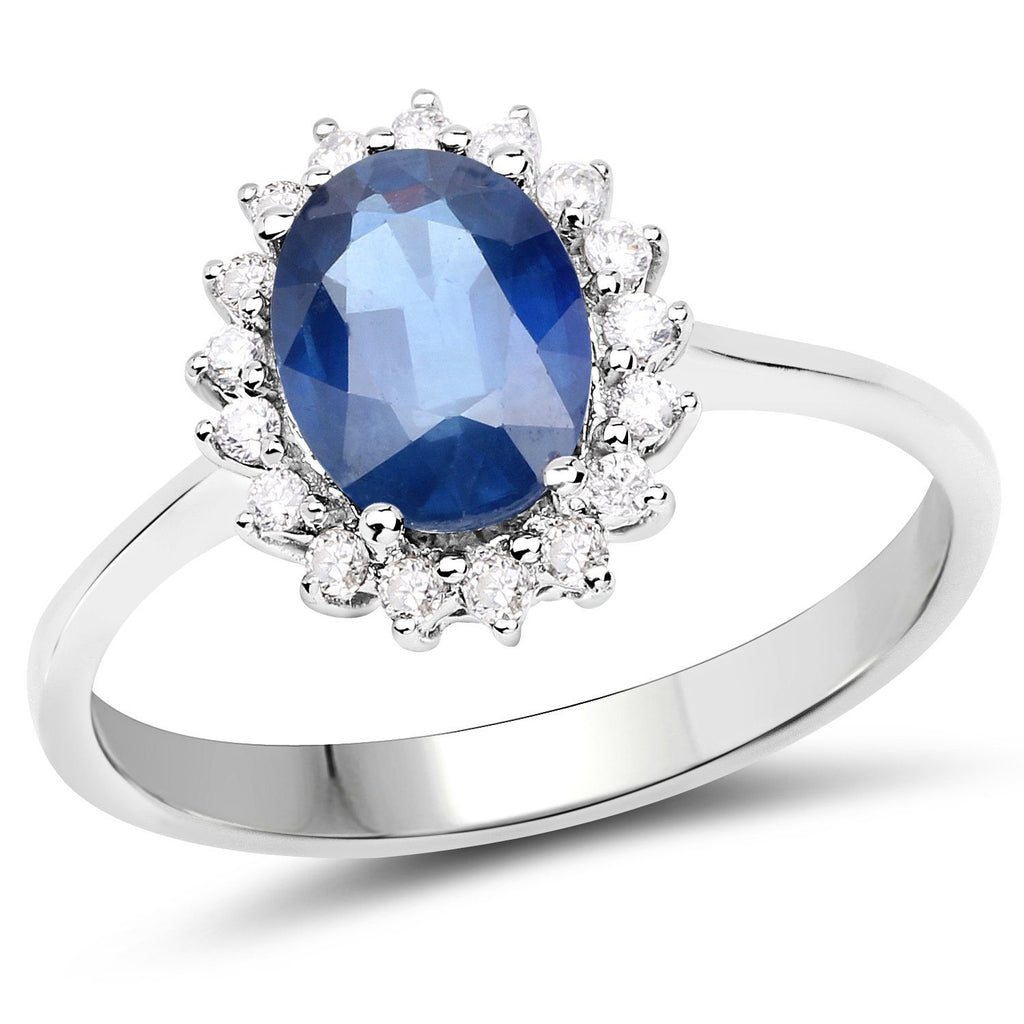 Marquise Blue Sapphire and Diamond Starburst Halo Cocktail Ring in 14K White Gold
