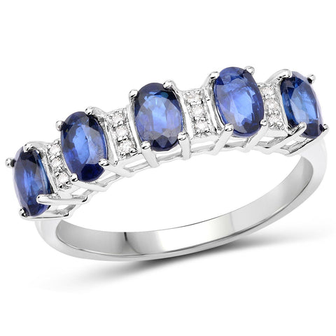 Image of Oval Blue Sapphire and Diamond Garland Ring in 14K White Gold