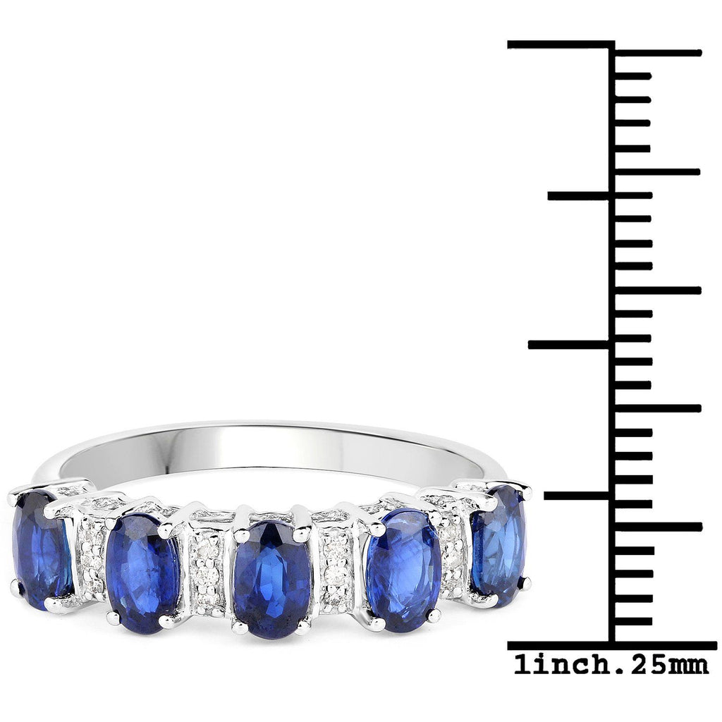 Oval Blue Sapphire and Diamond Garland Ring in 14K White Gold