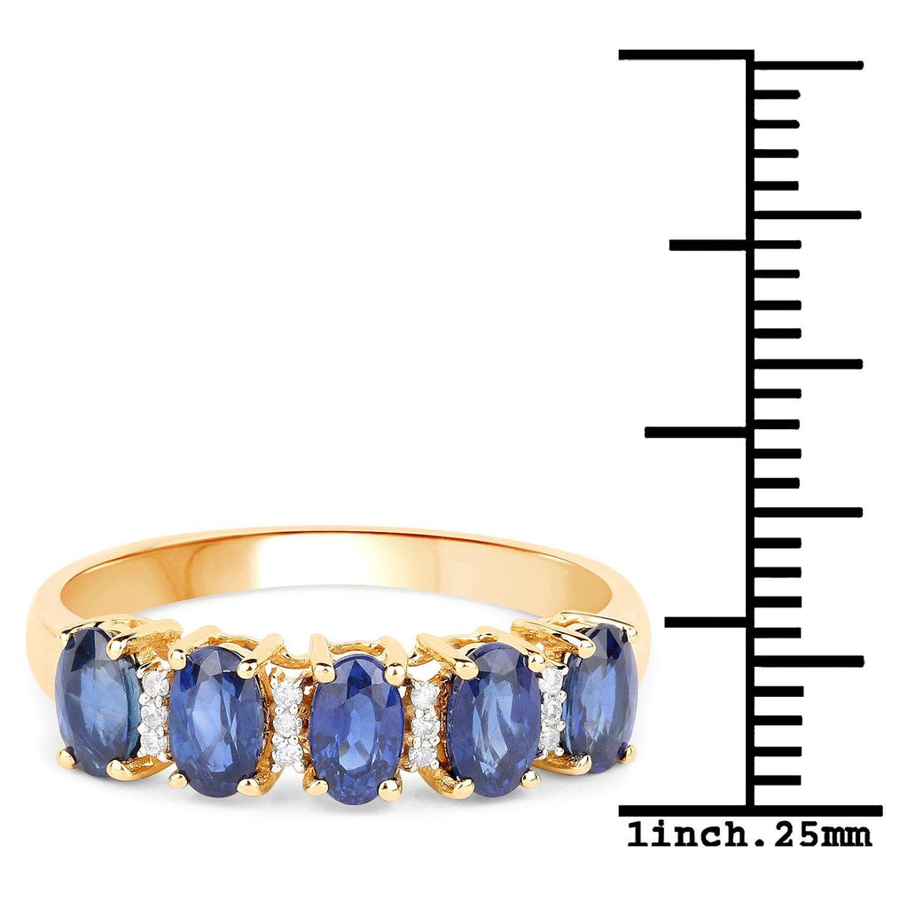 Oval Blue Sapphire Diamond Micropavé Garland Ring in 14K Yellow Gold