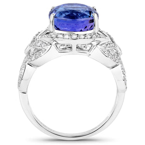 Round Tanzanite and Diamond Micropavé Art Deco Ring in 14K White Gold